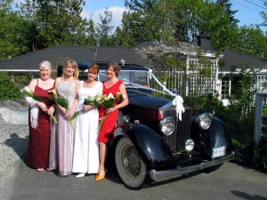 Bride and Brides mades with Vancouver Wedding car