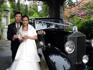 Asian Wedding Couple by Vancouver Wedding car