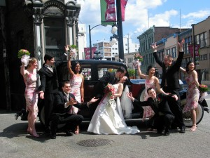 Wedding Party in Gastown by Vancouver Wedding car