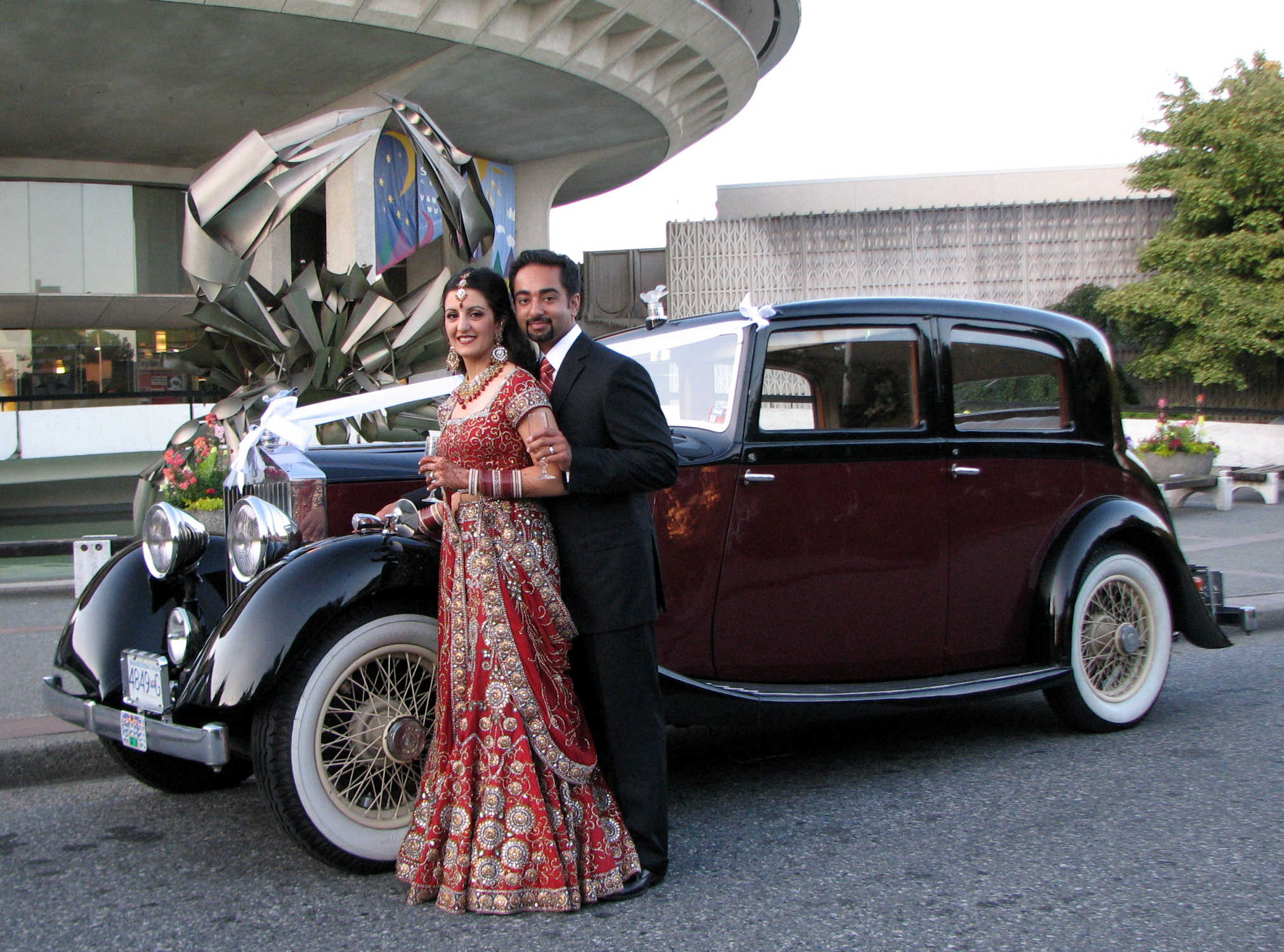 Indian Couple by by Vancouver Wedding Limo