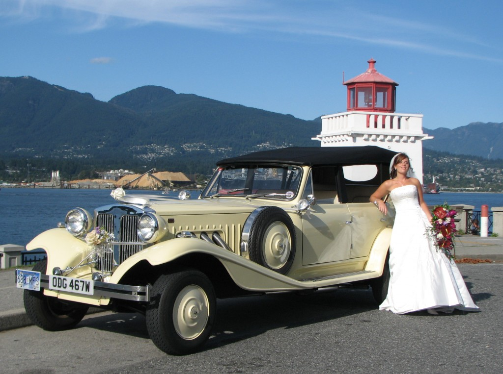 Bride with Convertible Vancouver Wedding Limo in Stanley Park