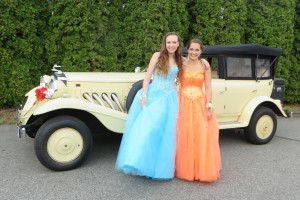 Posing before prom by Vancouver Classic White Limo