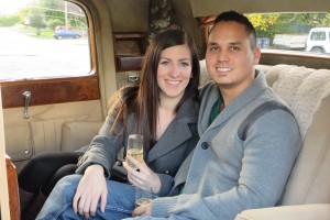 Just engaged couple poses in Classic Vancouver Limo
