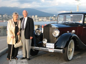 Couple poses for special occasion with Classic Vancouver Limo